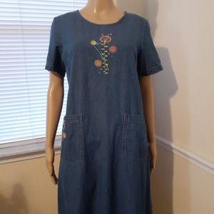 Blair Denim Embroidered Jean Dress